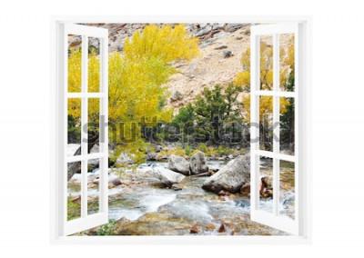 Fotomural Ventana abierta con hermosa naturaleza sobre un fondo.