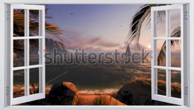 Fotomural Ventana abierta con vista al mar.