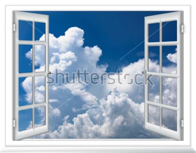 Fotomural Ventana abierta vista del cielo con nubes amanecer