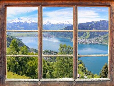 Fotomural Ventana con vista a Zell am See