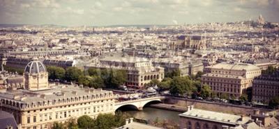 Fotomural Ver en París forma Catedral de Notre Dame. Imagen filtrada estilo Instagram