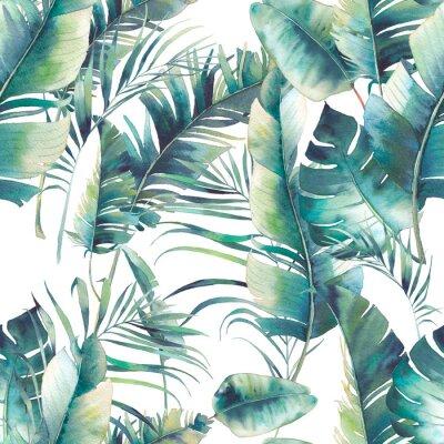 Fotomural Verano palmera y hojas de plátano sin patrón. Textura de acuarela con ramas verdes sobre fondo blanco. Diseño de papel tapiz tropical dibujado a mano