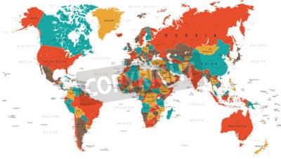 Fotomural Verde Rojo Amarillo Marrón Mapa Mundial - fronteras, países y ciudades - ilustración