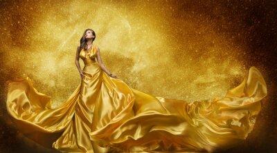 Fotomural Vestido de modelo de oro de la manera, vestido de seda de oro de la mujer que fluye la tela