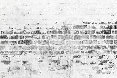 Fotomural Vieja pared de ladrillo con capa de pintura blanca dañada