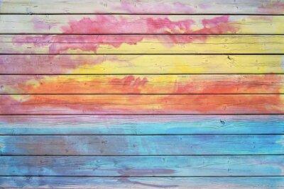Fotomural Vieja tarjeta de madera en colores del arco iris