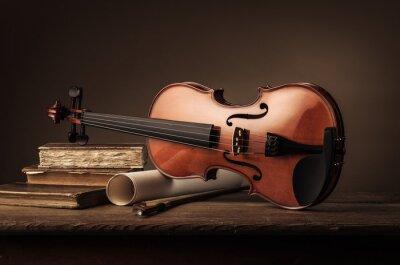 Fotomural Vieja vida del violín vieja con los libros