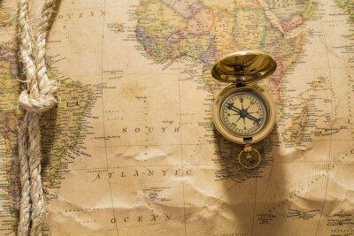 Fotomural Viejo compás y la cuerda en el mapa de la vendimia