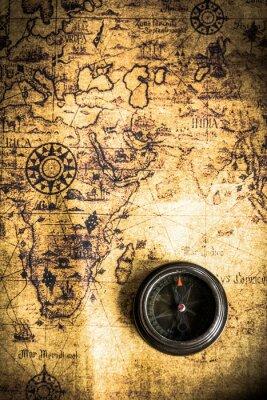 Fotomural viejo mapa con la brújula