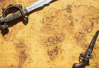 Fotomural Viejo mapa del tesoro con la espada y el arma del mosquete.