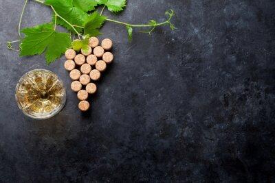Fotomural Vino, corchos, uva, forma, y, vid