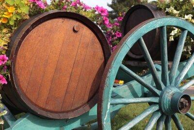 Fotomural Vino francés del vino viñedo barriles de vino y carro.