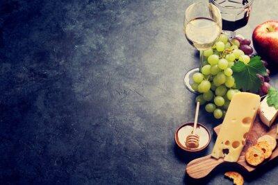 Fotomural Vino, uva, queso y miel