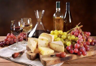 Fotomural Vino, uvas y queso