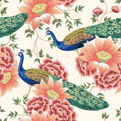 Fotomural Vintage Chinese flower lotus rose, leaves, peacock bird seamless border pink background. Exotic oriental wallpaper.