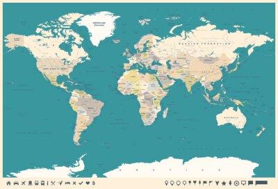 Fotomural Vintage mapa del mundo y marcadores - ilustración