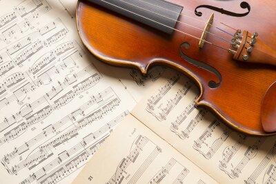 Fotomural Vintage violín en la partitura.