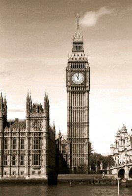 Fotomural Vintage vista de Big Ben torre del reloj de Londres. Tonos sepia.