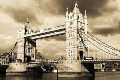 Fotomural Vintage vista de Tower Bridge, Londres. Tonos sepia.