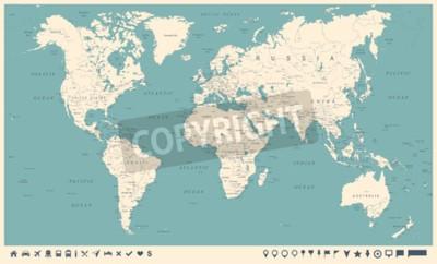 Fotomural Vintage World Map y marcadores - ilustración vectorial detallada