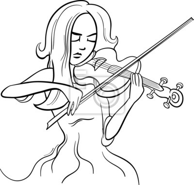 Violinista ilustración de dibujos animados chica fotomural ...
