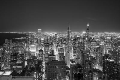 Fotomural Vista aérea del horizonte del centro de Chicago al atardecer desde lo alto.