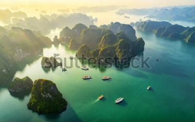 Fotomural Vista aérea flotante pueblo pesquero y la isla de roca, la Bahía de Halong, Vietnam, el sudeste de Asia. UNESCO sitio de Patrimonio Mundial. Crucero en bote basura a la bahía de Ha Long. Hito popular,