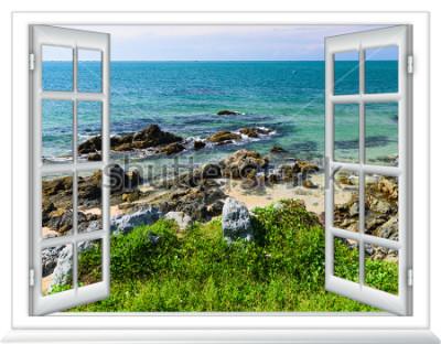 Fotomural Vista al mar desde la ventana en la isla del soleado día de verano.