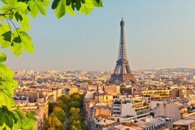 Fotomural Vista de la torre Eiffel al atardecer