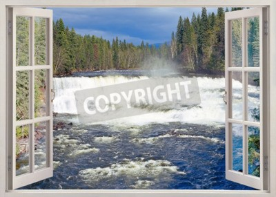 Fotomural Vista de la ventana abierta a Dawson Falls, Murtle River, Parque Provincial Wells Gray, Columbia Británica, Canadá