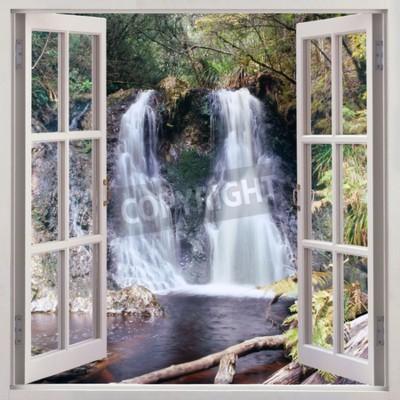 Fotomural Vista de la ventana abierta a Hogarth Falls - una pequeña cascada agradable enclavado en el Parque de People s en el pintoresco municipio costero de Strahan, Tasmania, Australia