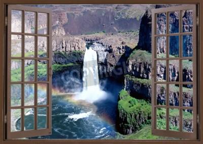 Fotomural Vista de la ventana abierta a la cascada