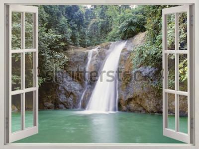 Fotomural Vista de la ventana abierta a una cascada tropical cerca de la Ciudad de Waterfalls, Iligan, Mindanao, Filipinas