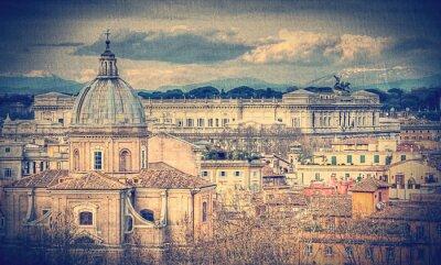Fotomural Vista de Roma. Foto entonada retro