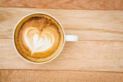 Fotomural Vista de un corazón compuesto de café