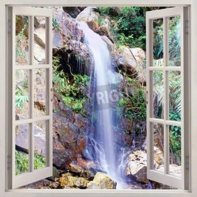 Fotomural Vista de ventana abierta a cascada de agua pequeña