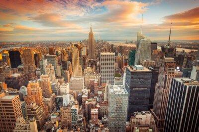Fotomural Vista del atardecer de la ciudad de Nueva York con vistas a Manhattan