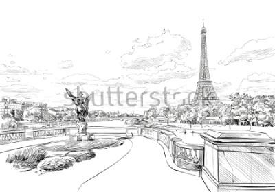 Fotomural Vista desde el puente Le Pont de Bir-Hakeim a la Torre Eiffel. París, Francia. Croquis urbano. Dibujado a mano ilustración vectorial