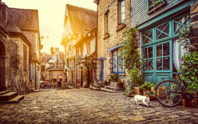 Fotomural Vista panorámica de la ciudad vieja en Europa en luz hermosa de la tarde en la puesta de sol con efecto grunge retro estilo vintage tonos tonos filtro de destello de lente y luz solar en verano