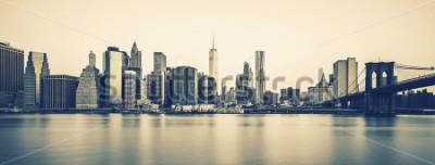 Fotomural Vista panorámica del centro de Manhattan de Nueva York al atardecer, procesamiento fotográfico especial