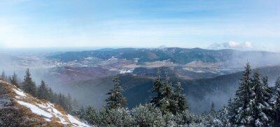 Fotomural Vista panorámica desde la cordillera hasta el valle