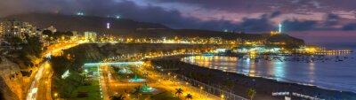 Fotomural Vista panorámica HDR de la bahía de Chorrollos en Lima, Perú.