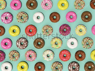 Fotomural Vista superior Establecer patrón de colores Donuts sobre fondo verde, lo que representa Donuts 3d