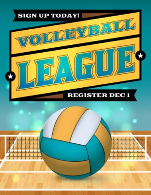 Fotomural Voleibol Liga Flyer Ilustración