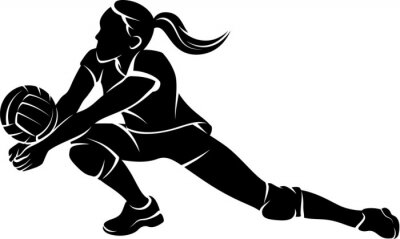 Fotomural Volleyball Dig Girl Silhouette