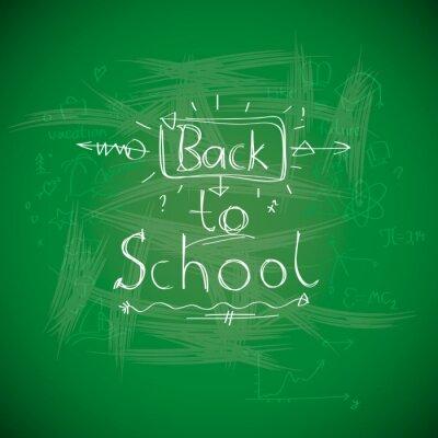 Fotomural Volver a la escuela, chalkwriting en la pizarra, la imagen Eps10 vector.