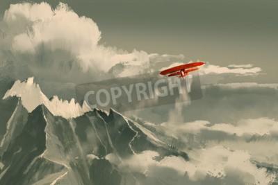 Fotomural Vuelo biplano rojo sobre montaña, ilustración, pintura digital