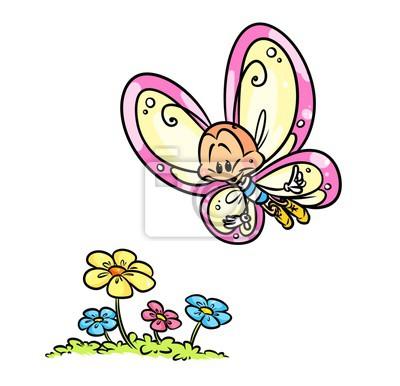 Vuelo De La Mariposa De Dibujos Animados De Flores Ilustración