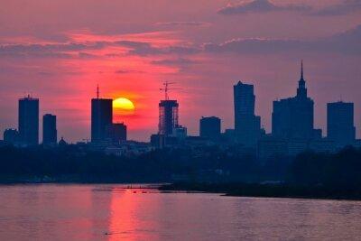 Fotomural Warsaw Centro atardecer