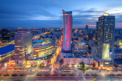 Fotomural Warszawa wieczorna panorama miasta